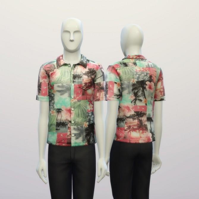 Sims 4 Tropical pink printed shirt at Rusty Nail