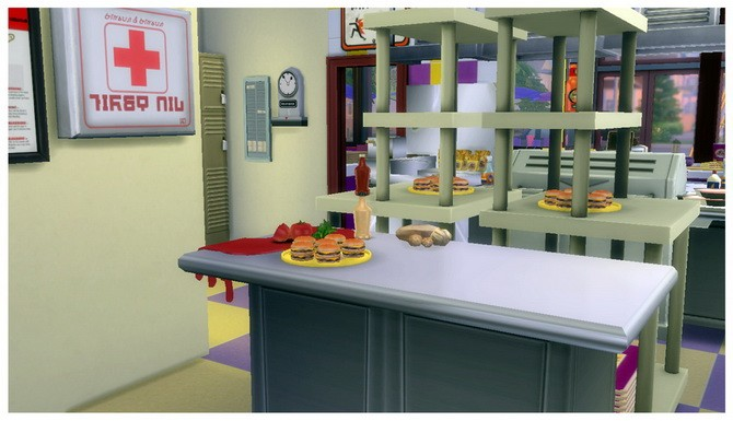 Sims 4 Moobie's Fast Food Restaurant at SimDoughnut