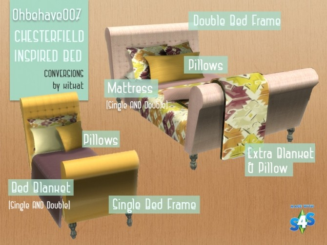Sims 4 Ohbehave007s Chesterfield Inspired Bed Conversion at Kitkat's Simporium