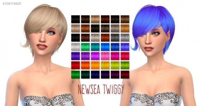 Sims 4 Newseas Twiggy hair retexture at Nessa Sims