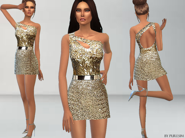 Gold Sequined Dress by Puresim at TSR image 2017 Sims 4 Updates