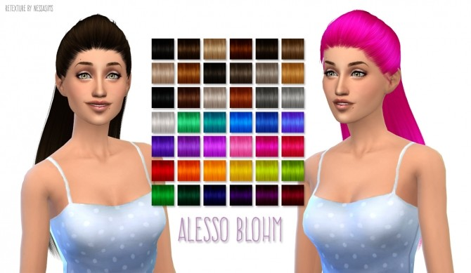 Sims 4 Alessos Blohm hair retexture at Nessa Sims