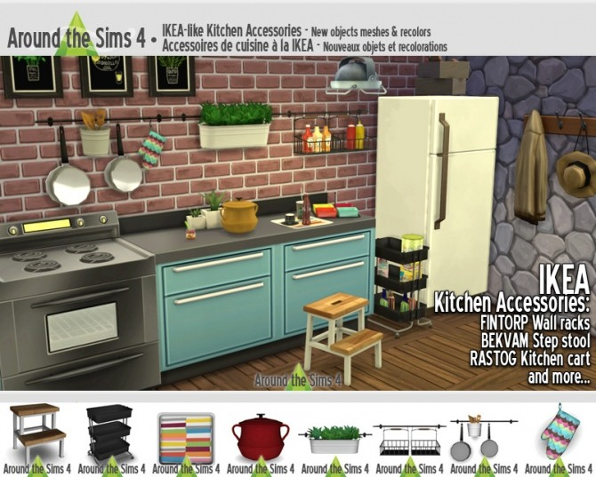 Sims 4 IKEA like Kitchen Accessories at Around the Sims 4