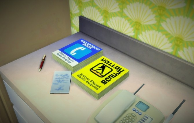 Sims 4 Simlish recolor of sg5150′s telephone book at Budgie2budgie