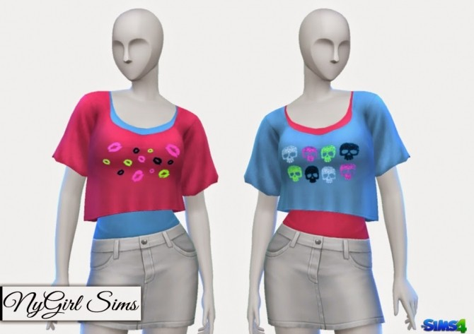 Sims 4 Skull and Lips Crop Tee with Tank at NyGirl Sims