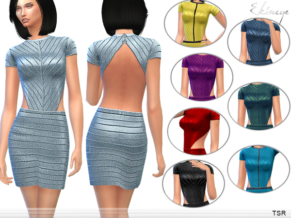 Sims 4 Fitted Backless Dress by ekinege at TSR