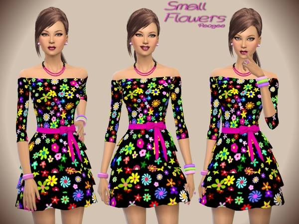 Sims 4 Small Flowers dress by Paogae at TSR
