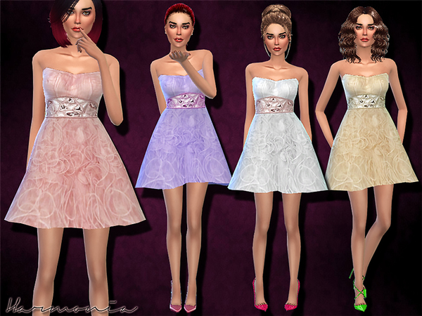 Sims 4 Embellished Short Tulle Prom Dress by Harmonia at TSR