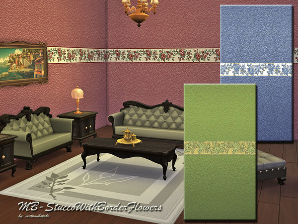 Sims 4 Stucco With Border Flowers by matomibotaki at TSR