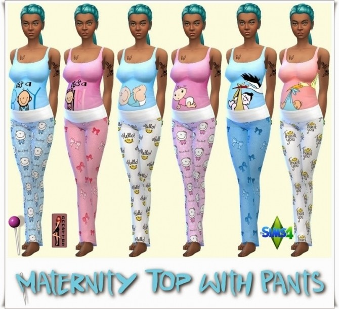 Sims 4 Maternity Top with Pants at Annett's Sims 4 Welt