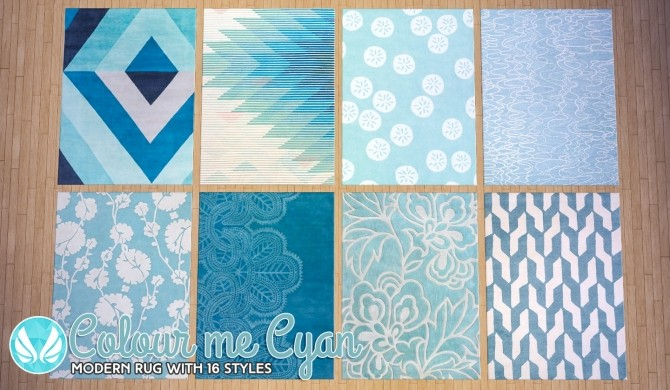 Sims 4 Colour Me Cyan Modern Rugs at Simsational Designs