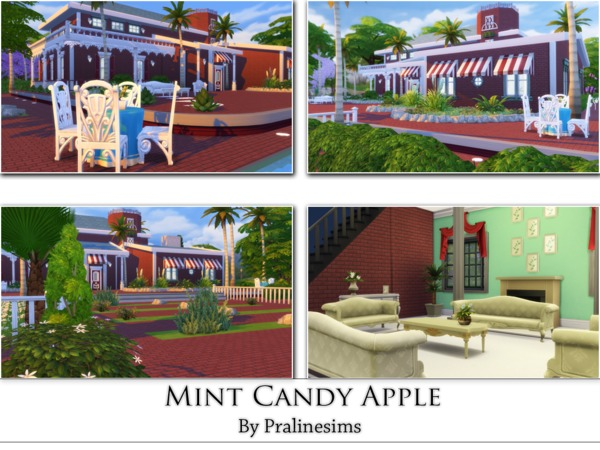 Mint Candy Apple house by Pralinesims at TSR image 2821 Sims 4 Updates