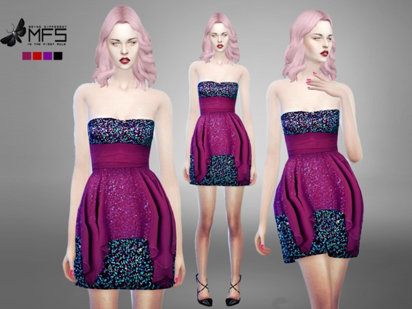 Sims 4 MFS Seraphine Dress by MissFortune at TSR