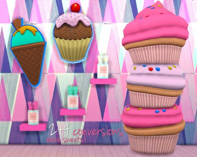 Sims 4 Ice Cream + Cupcake Sign + Stack O'Cupcakes + RetailSim's Candy Stix at Grilled Cheese Aspiration