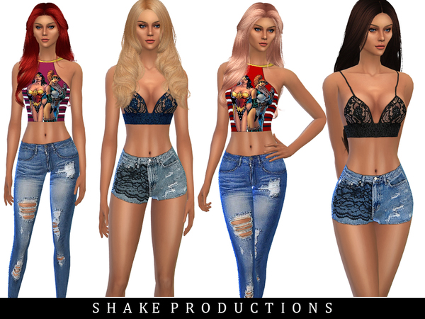 Sims 4 SET23 tops, jeans and shorts by ShakeProductions at TSR