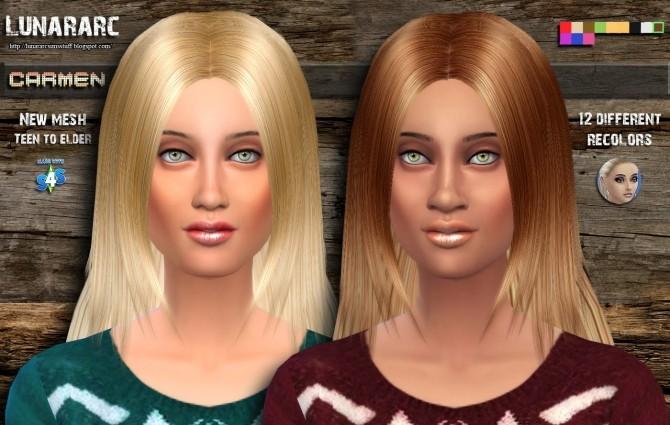 Sims 4 Carmen female hair at Lunararc