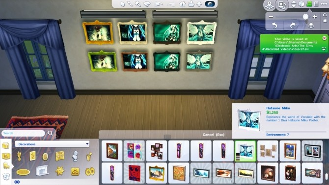 Sims 4 Hatsune Miku Wall Painting by Czarina27 at Mod The Sims