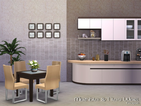 Marble Amp Tiles Wall By Paogae At Tsr 187 Sims 4 Updates