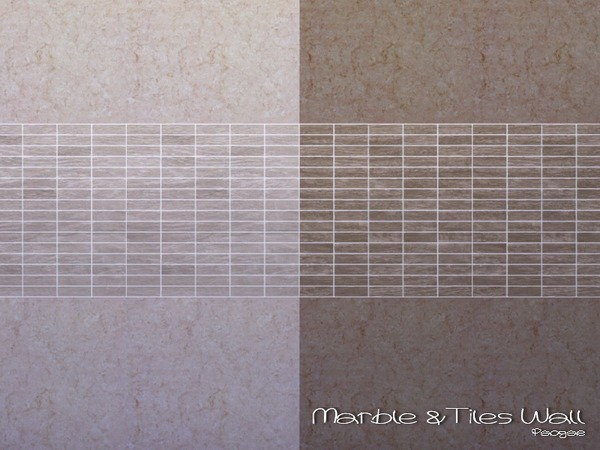 Sims 4 Marble & Tiles Wall by Paogae at TSR