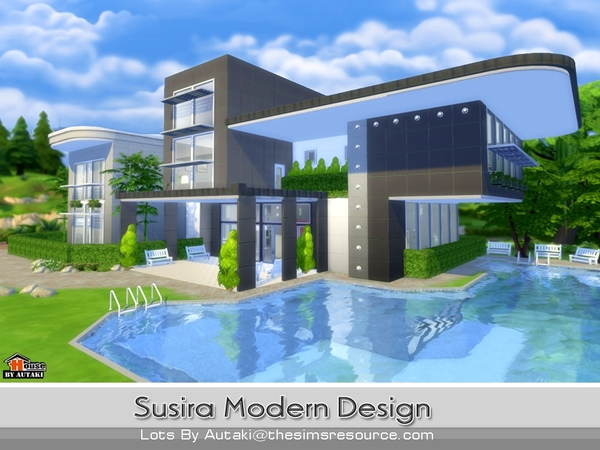 Susira modern design by autaki at tsr sims 4 updates for Sims 4 modern house plans