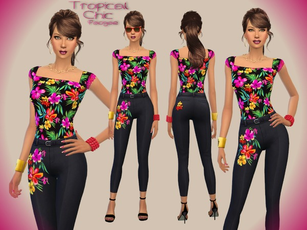 Sims 4 Tropical Chic outfit by Paogae at TSR
