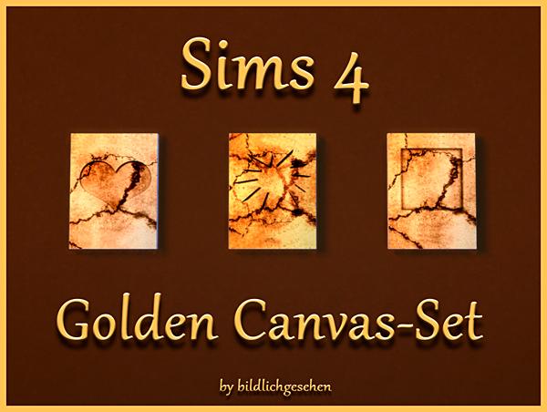 Golden Canvas Set by Bildlichgesehen at Akisima image 451 Sims 4 Updates