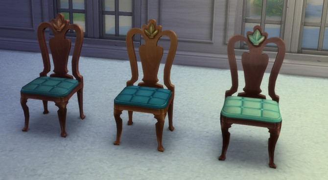 Sims 4 Dining Chair with blue cushion by clairkp at Mod The Sims
