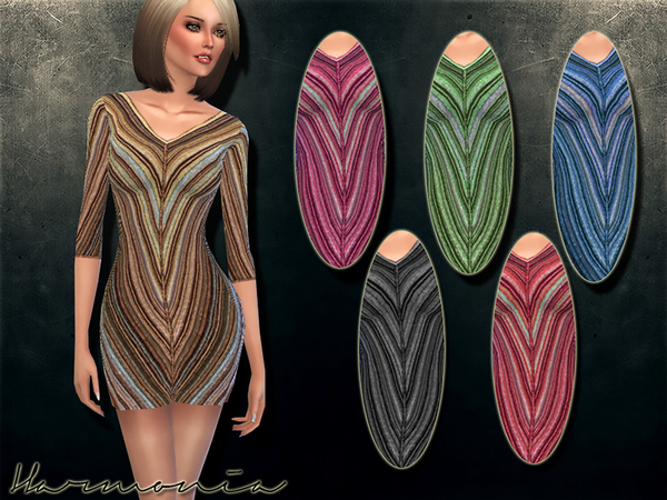 Knitted Wool Stretch Mini Dress by Harmonia at TSR image 4810 Sims 4 Updates