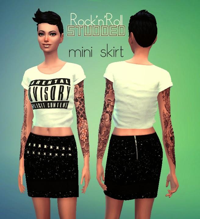 ROCKNROLL STUDDED SKIRT at Rimshard Shop image 5115 Sims 4 Updates