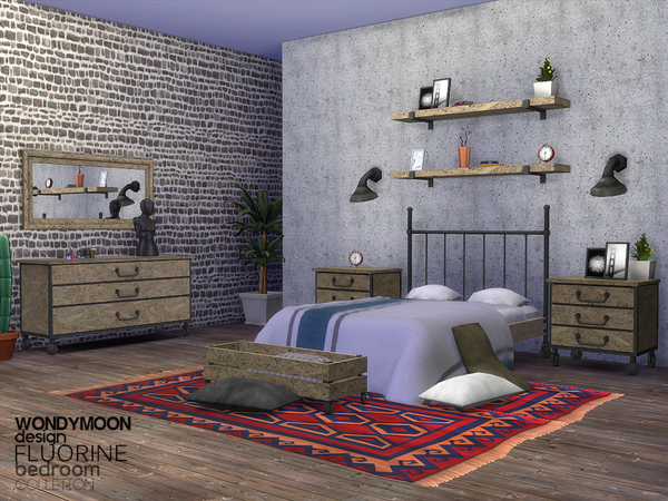 Sims 4 Fluorine Bedroom by wondymoon at TSR