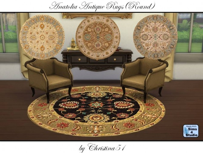 Anatolia Round Antique Rugs by Christina51 at Mod The Sims image 527 670x503 Sims 4 Updates