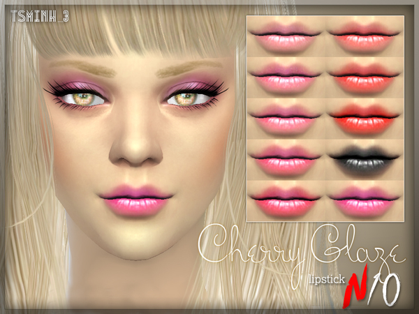 Sims 4 Cherry Glaze Lipstick by tsminh 3 at TSR