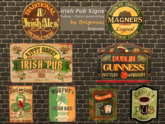 Irish Pub Signs At Leander Belgraves 187 Sims 4 Updates