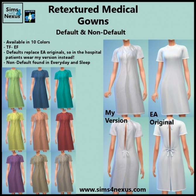 Sims 4 Medical Gown Retexture at Sims 4 Nexus