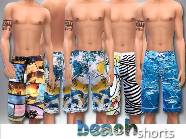 Sims 4 Beach Shorts by Pinkzombiecupcakes at TSR
