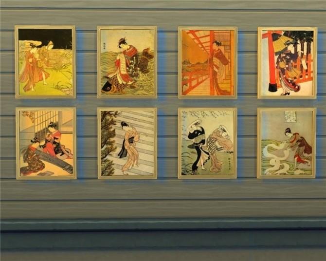 Japanese paintings at Mara45123 image 622 670x536 Sims 4 Updates
