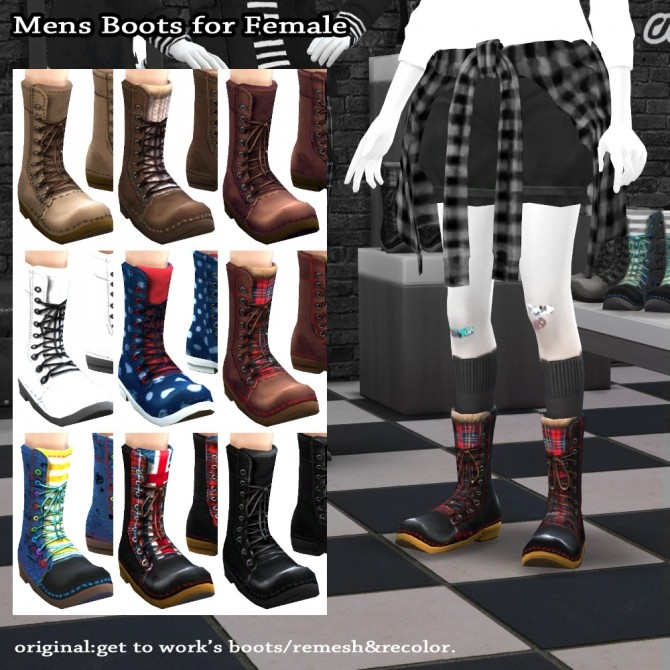 Sims 4 GTW boots for females recolor at Imadako