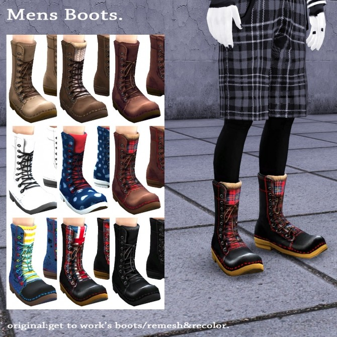 Sims 4 GTW boots for males recolor at Imadako