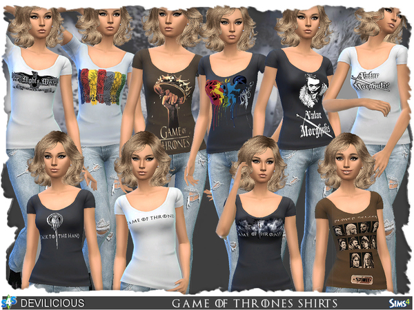 Sims 4 Game Of Thrones Female Shirts by Devilicious at TSR
