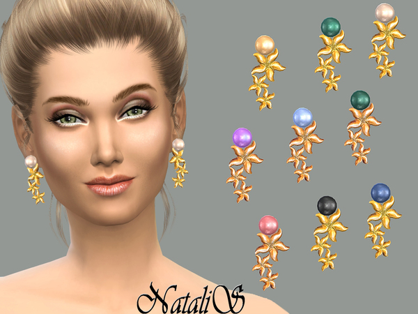 Starfish pearl cascade earrings by NataliS at TSR image 7129 Sims 4 Updates
