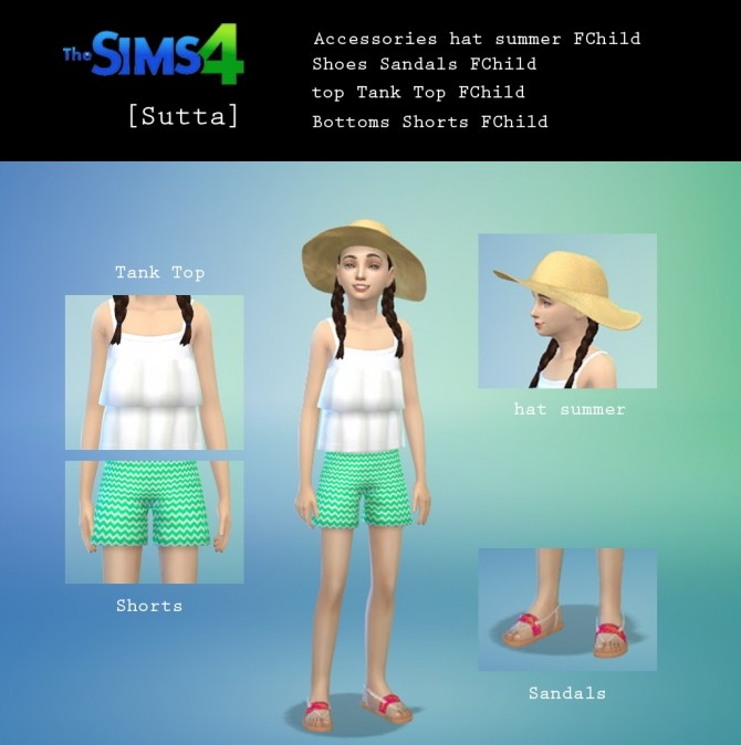 Summer Set: top, shorts, hat and sandals at Sutta Sims4 image 7315 670x674 Sims 4 Updates