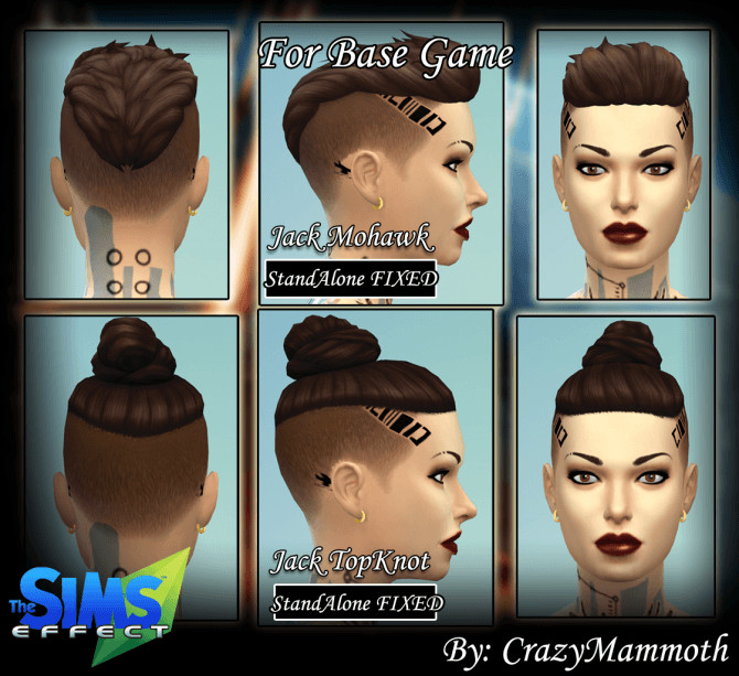 Jack Mohawk And Topknot Basegame At Crazy Mammoth 187 Sims 4