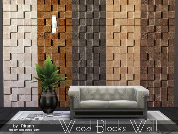 Wood blocks wall by rirann at tsr sims updates