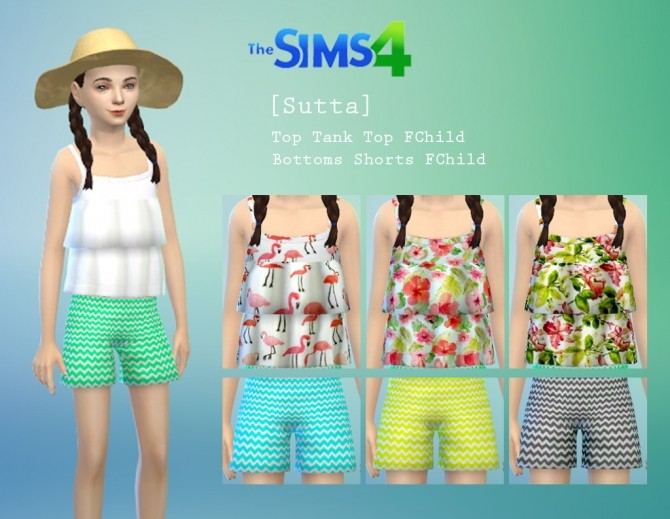 Summer Set: top, shorts, hat and sandals at Sutta Sims4 image 7414 670x519 Sims 4 Updates