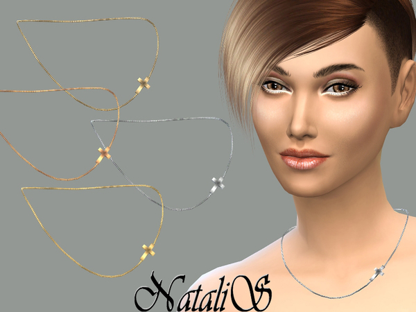 Sims 4 Cross chain necklace by NataliS at TSR