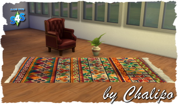 Sims 4 Colorful Frans Carpet by Chalipo at All 4 Sims