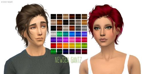 Sims 4 Newseas Gantz hair retexture at Nessa Sims