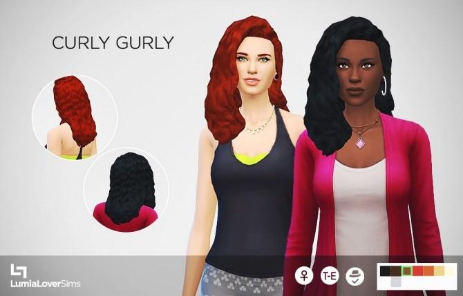 Sims 4 Curly Gurly hair at LumiaLover Sims