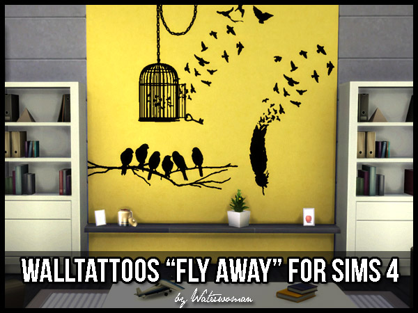 Sims 4 Fly away wall decals by Waterwoman at Akisima