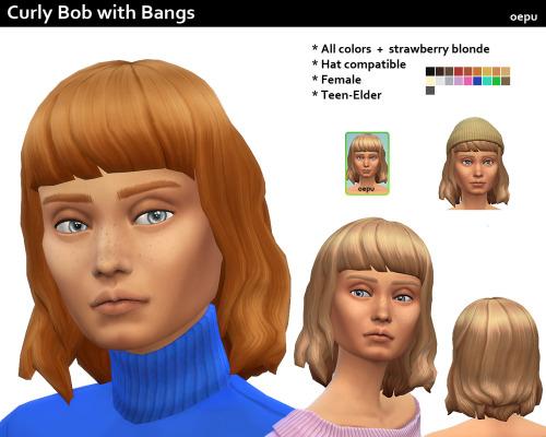 Sims 4 Curly Bob with Bangs at Oepu Sims 4